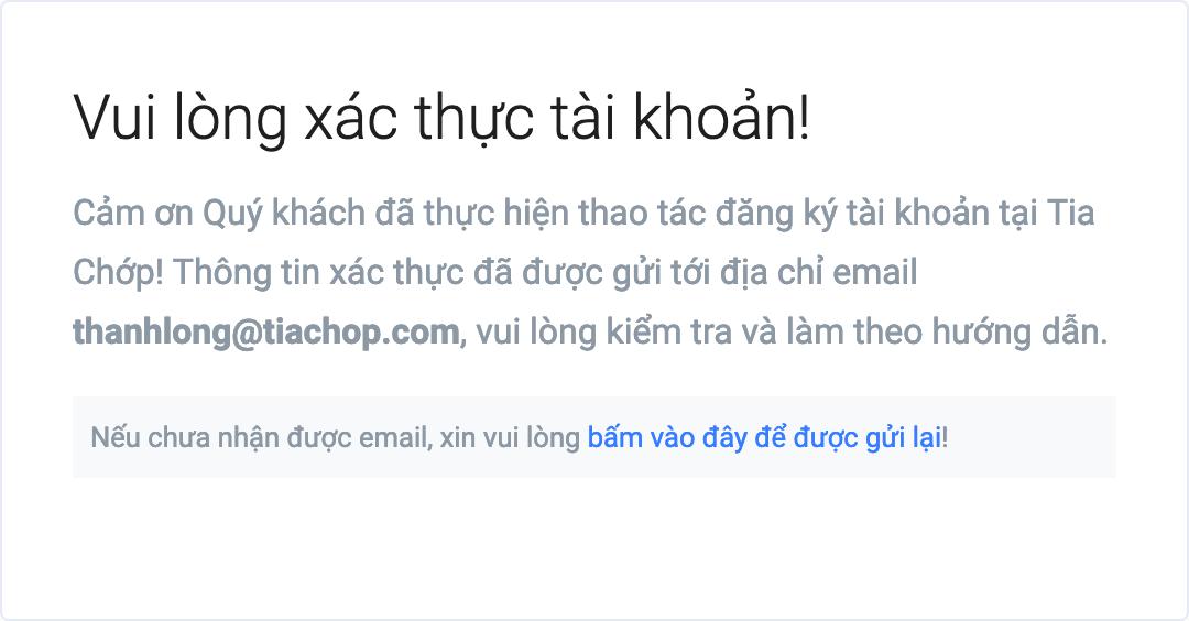 Thông báo yêu cầu xác thực địa chỉ email