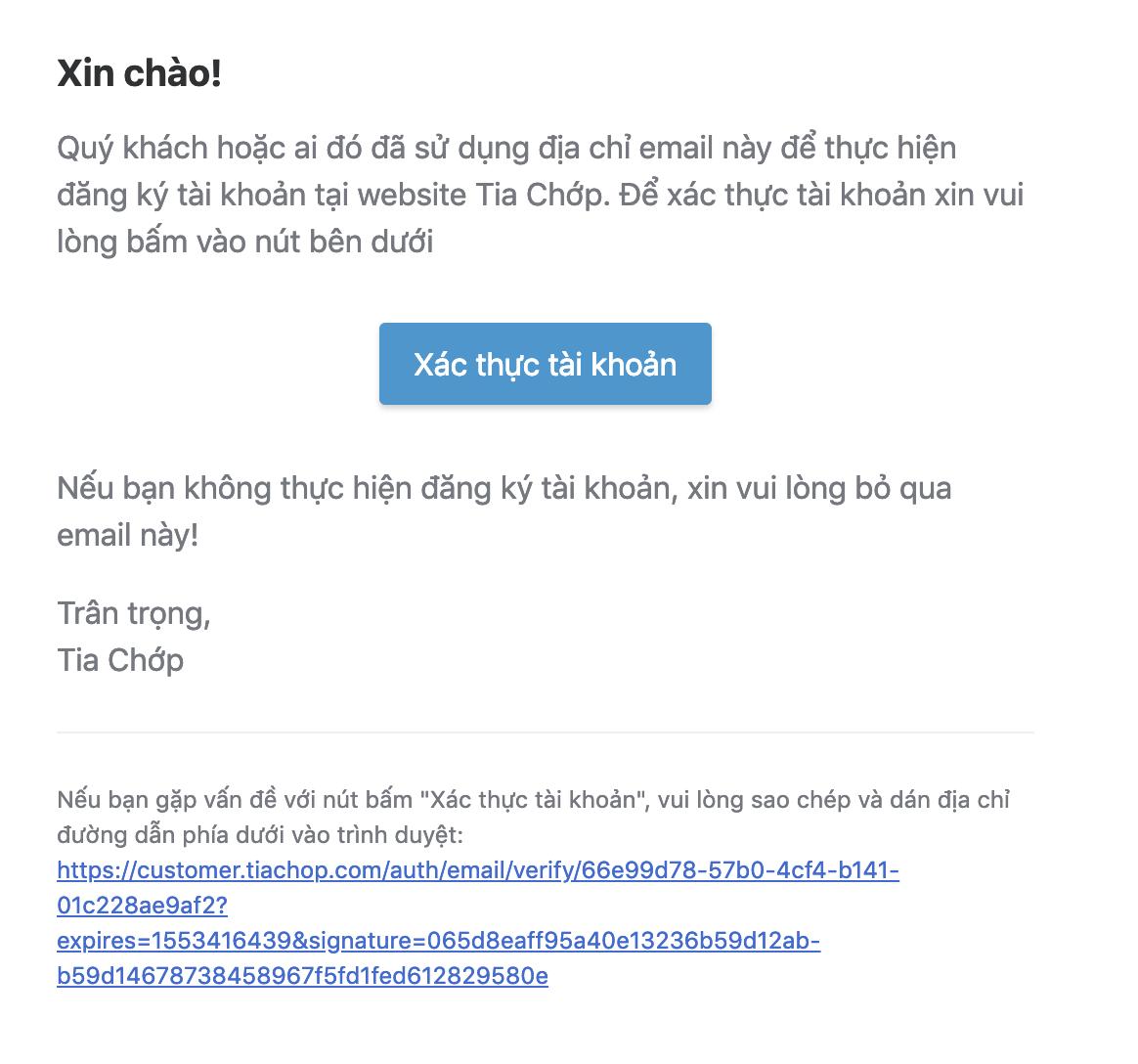 Hướng dẫn xác thực địa chỉ email
